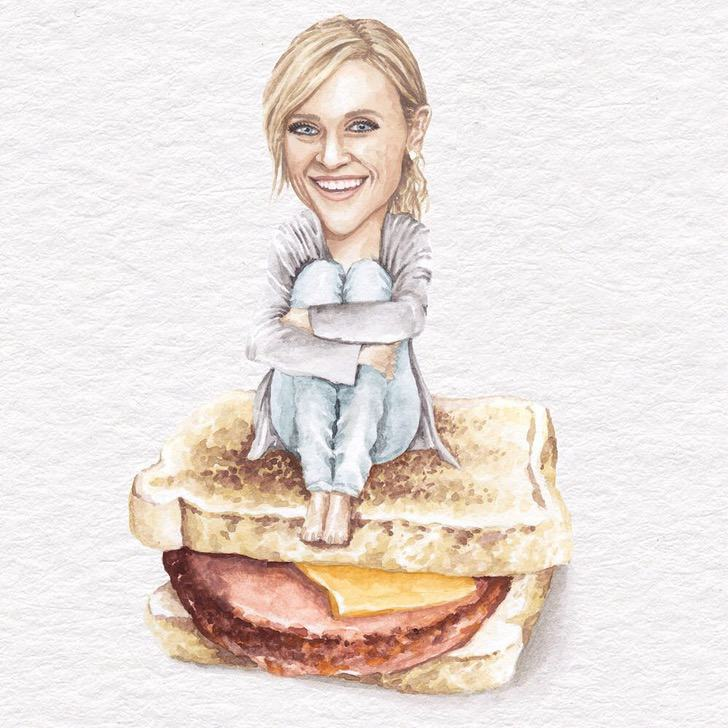 28 - Artista abre el apetito con los famosos posando sobre deliciosos sándwiches