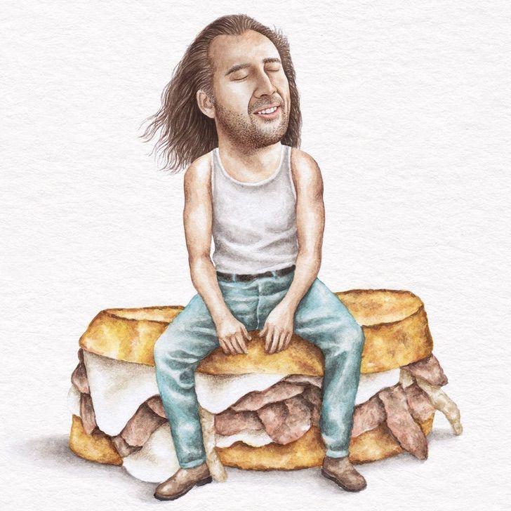 7 15 - Artista abre el apetito con los famosos posando sobre deliciosos sándwiches