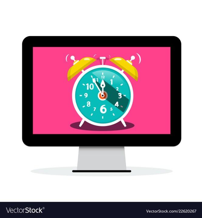 Ringing Alarm Clock On Computer Screen