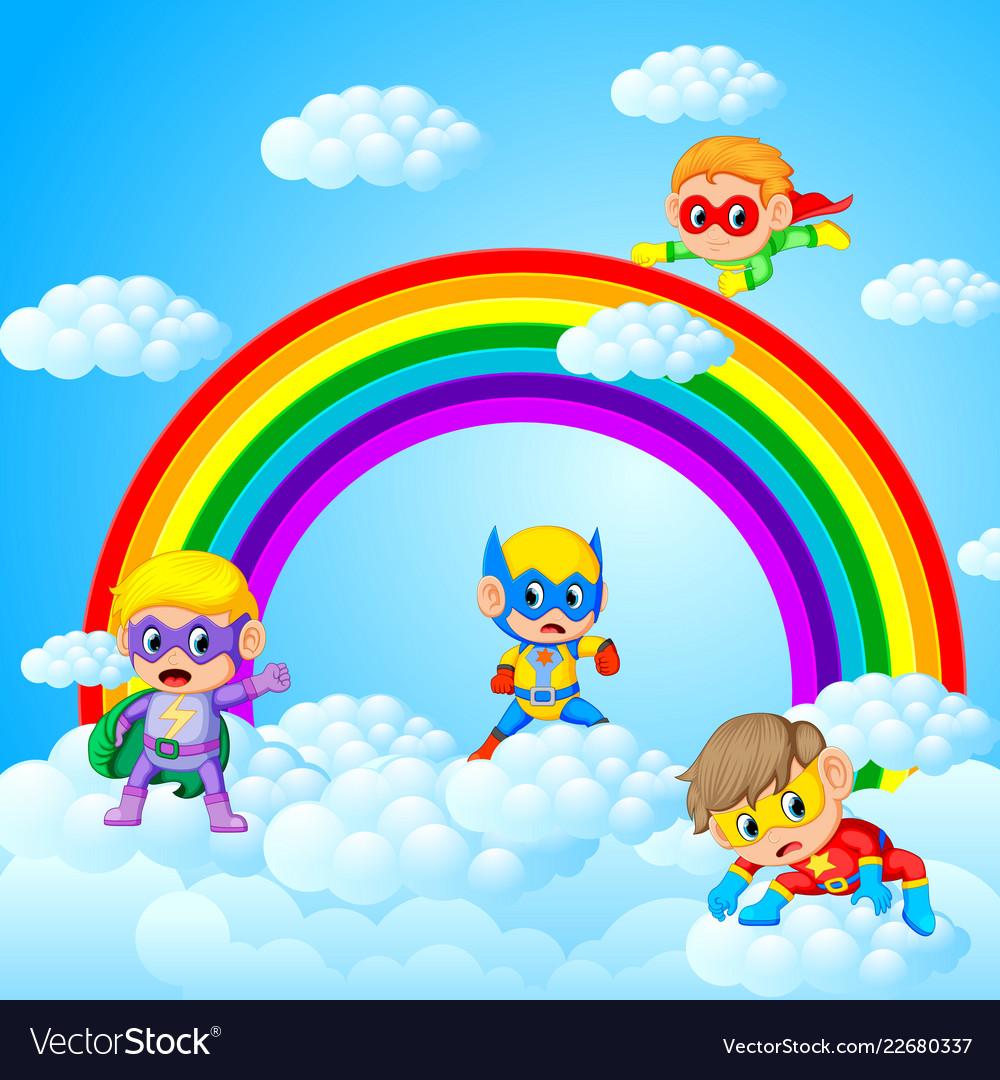 Happy Kids Playing Superhero With Sky Scenery Vector Image