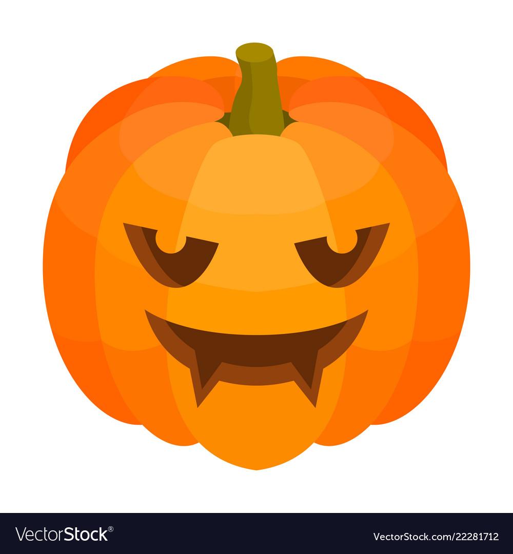 Scary Halloween Pumpkin Icon Isometric Style Vector Image