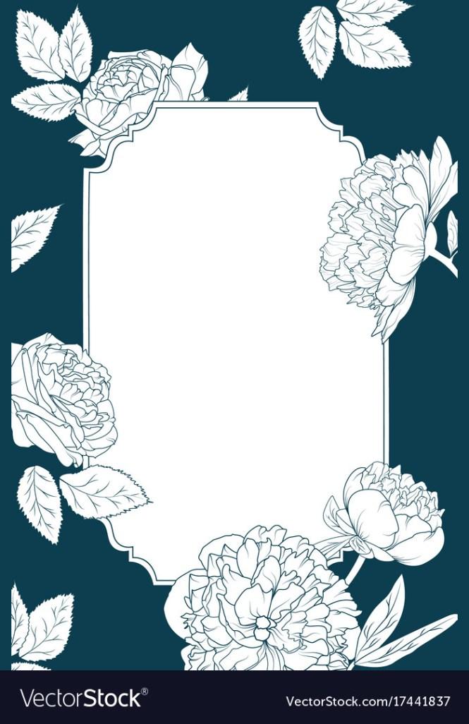 Rose Peony Flowers Invitation Card