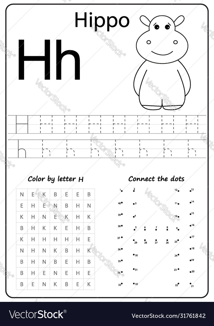 Letter H Alphabet Letter Worksheet Task For Kids Vector Image