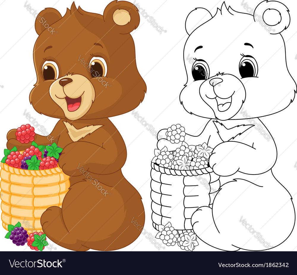 Bear Coloring Page Royalty Free Vector Image Vectorstock