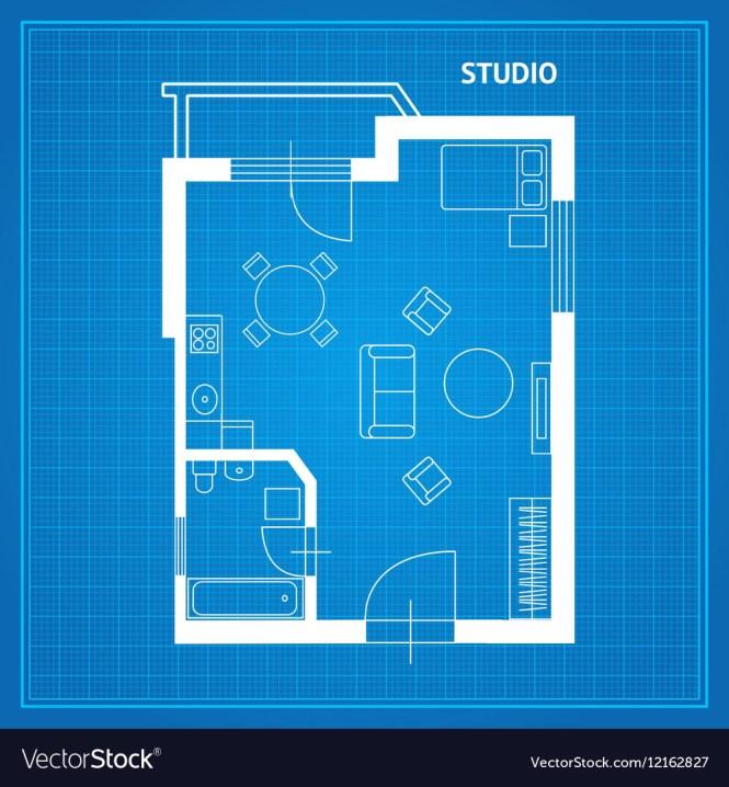 Apartment Floor Plan Studio Blueprint Vector Image
