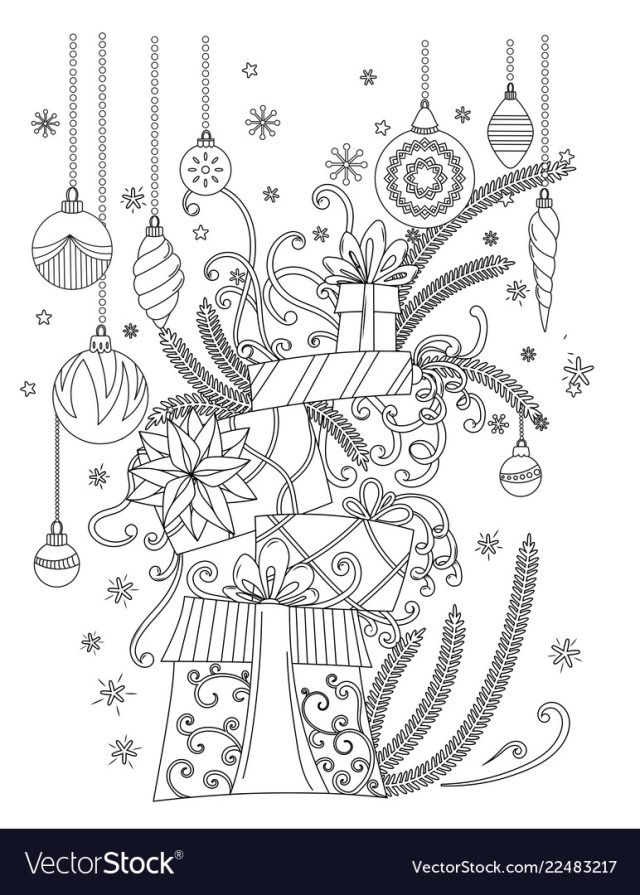 Christmas coloring page Royalty Free Vector Image