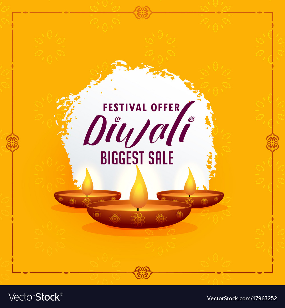 Do you want the perfect look for a family get together, Happy Diwali Greeting Design Template With Three Vector Image