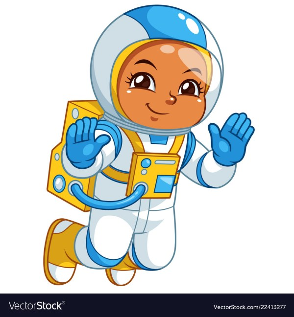 Astronaut girl floating in empty space Royalty Free Vector