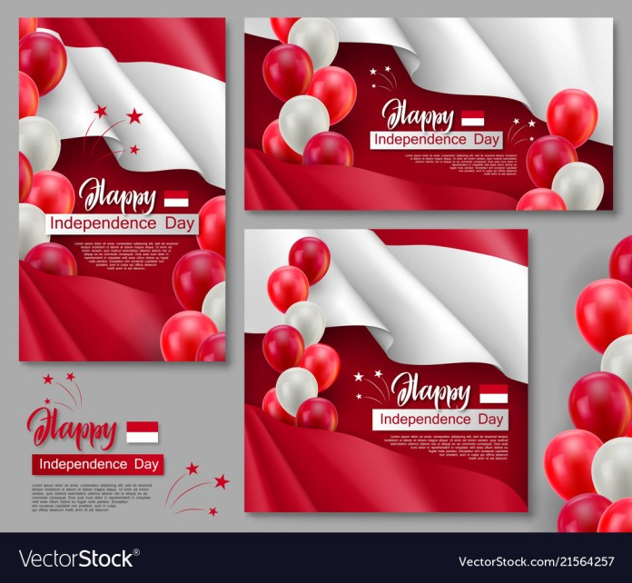 Happy Indonesian Independence Day Posters Vector Image