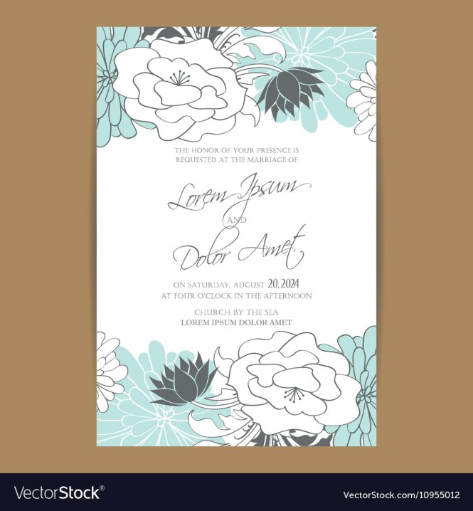 Wedding Invitation Card With Blue White Flowers