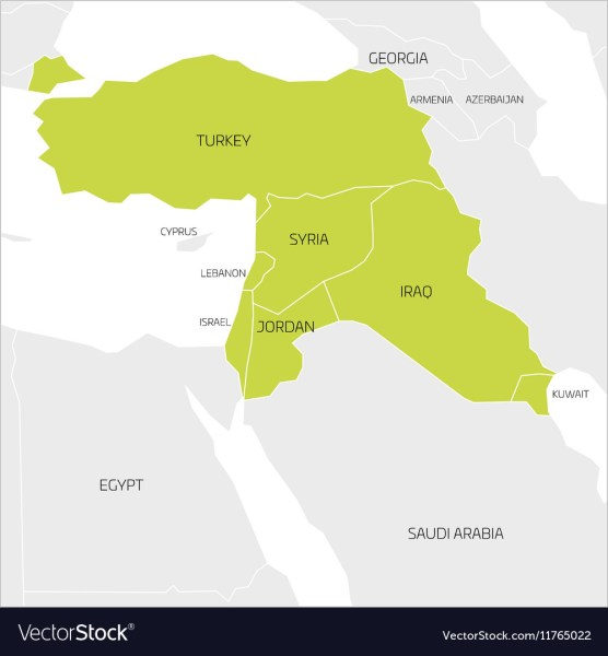 Map of Middle East region Royalty Free Vector Image Map of Middle East region vector image