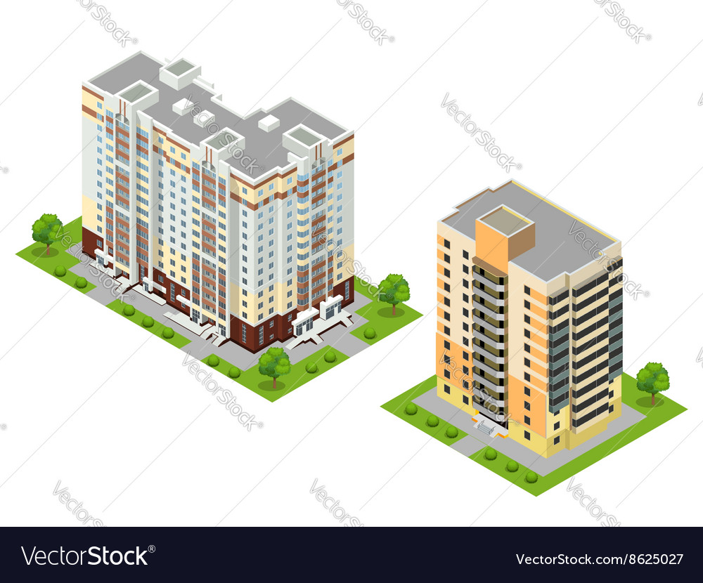 isometric flat 3d town buildings royalty free vector image