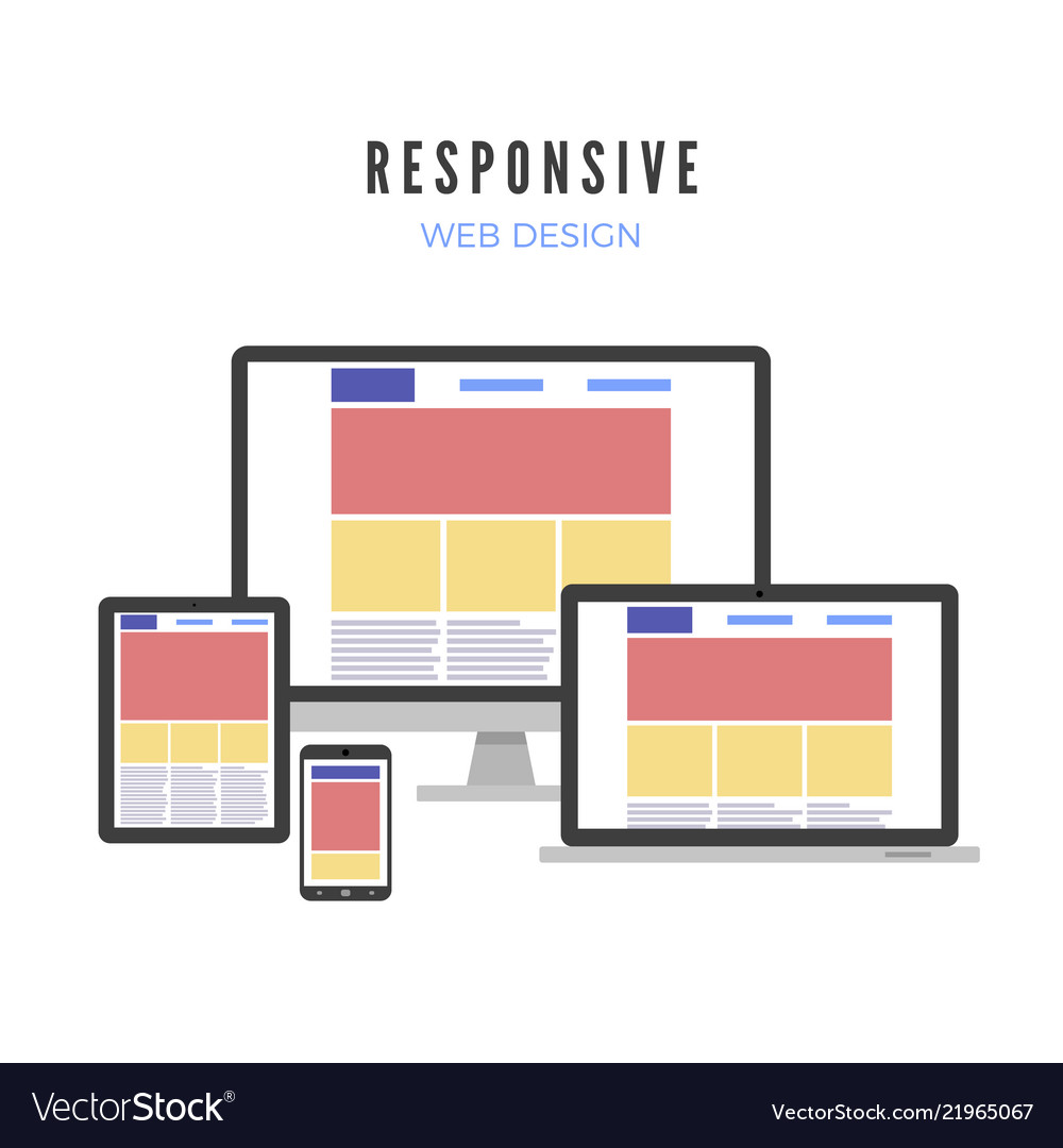 Next, add fonts, images, and colors that fit with your theme and your brand or personality. Responsive Web Design Website Template Royalty Free Vector