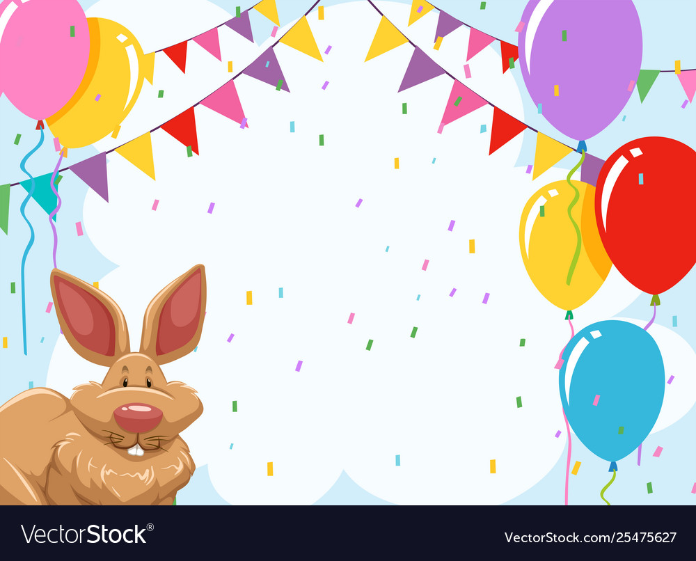 rabbit party invitation template royalty free vector image