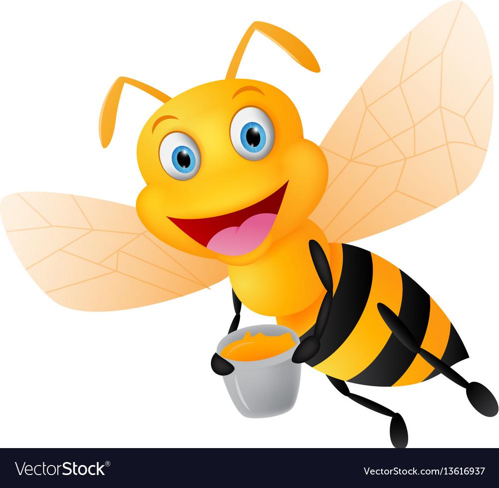 Happy Bee Cartoon With Honey Royalty Free Vector Image