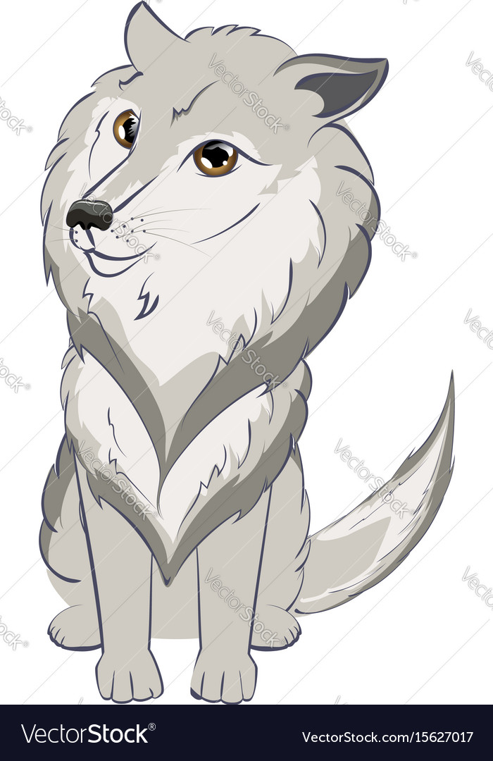 Cute Wolf Portrait Royalty Free Vector Image Vectorstock