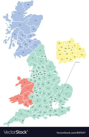 Postcode Map of UK Royalty Free Vector Image   VectorStock Postcode Map of UK vector image