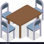 Chair And Table Isometric Design Cafe Furniture Vector Image