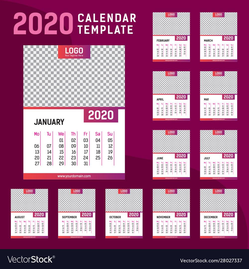 Wall calendar 15 template Royalty Free Vector Image