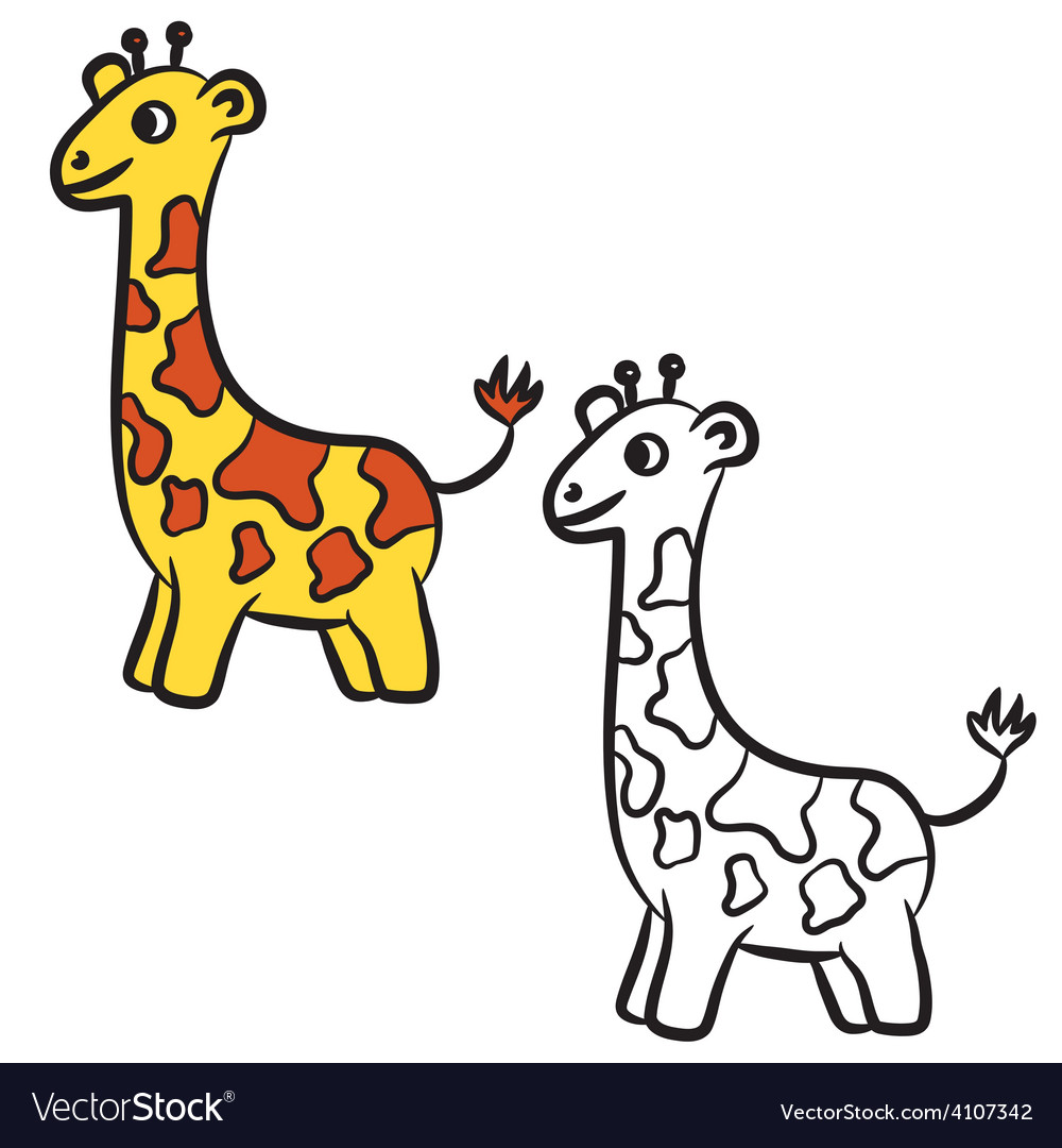 Giraffe Coloring Book Royalty Free Vector Image