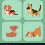 Puppy Cute Playing Dogs Characters Funny Purebred Vector Image