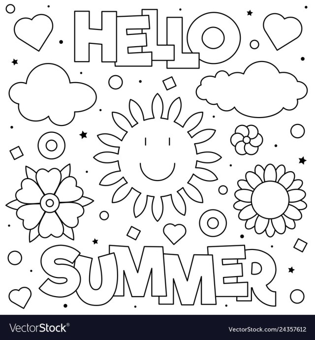 Hello summer coloring page Royalty Free Vector Image