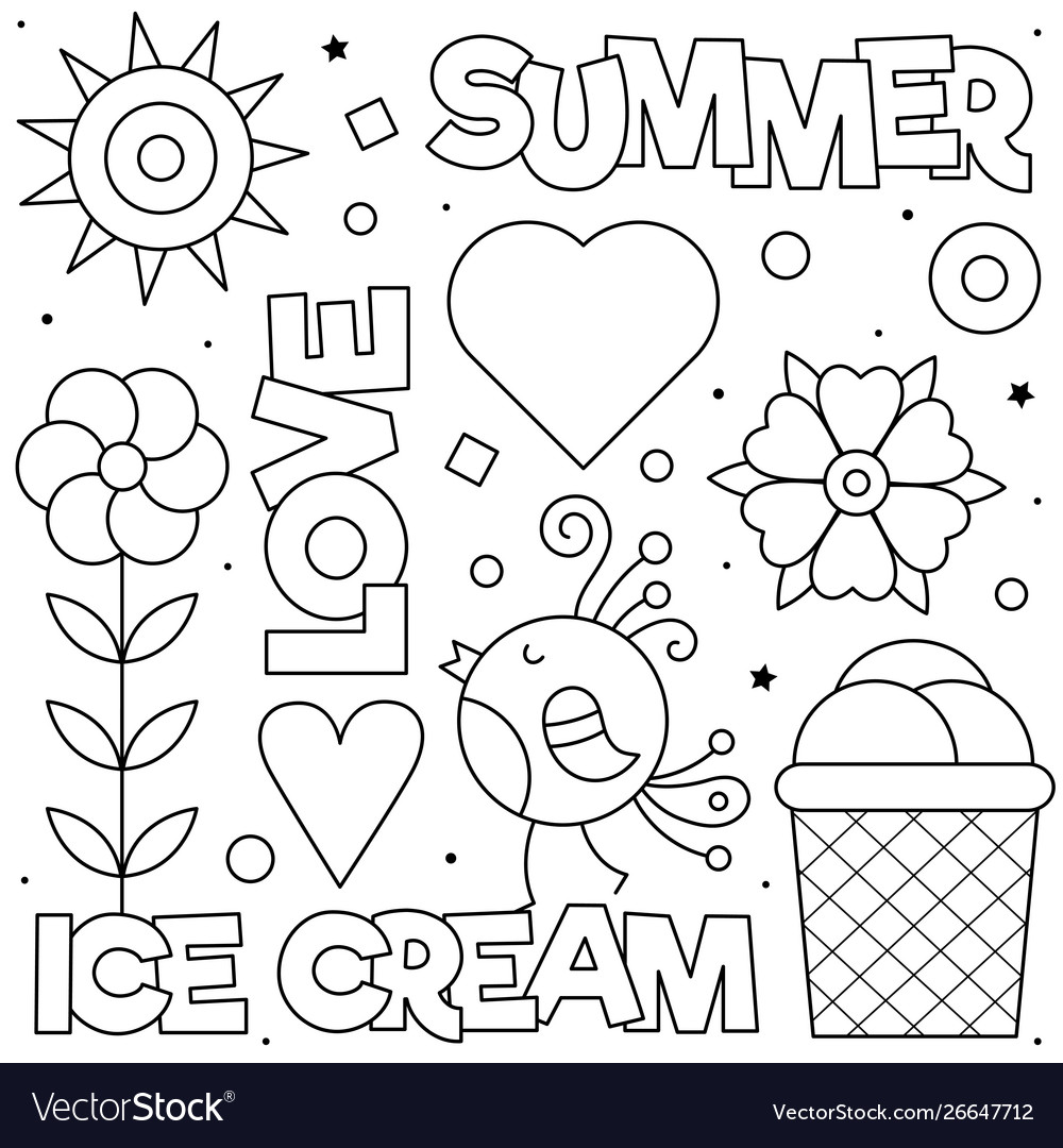Summer Love Coloring Page Black And White Vector Image