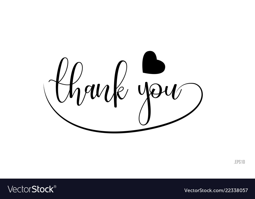 Download Thank you typography text with love heart Vector Image