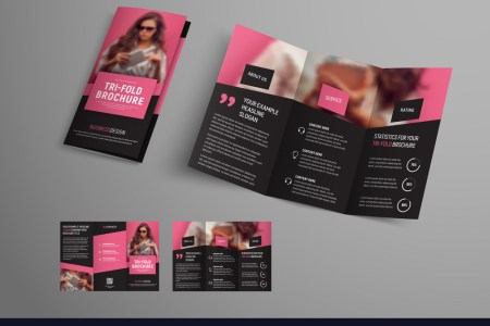 Tri fold brochure template with diagonal elements Vector Image