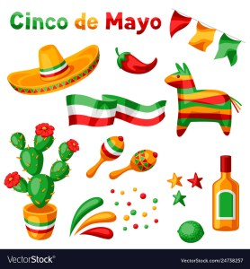 Mexican Cinco De Mayo Set Objects Royalty Free Vector Image
