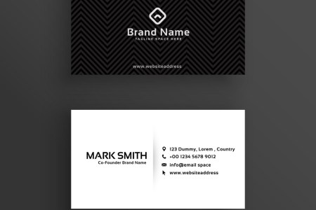 Minimal dark business card design template Vector Image