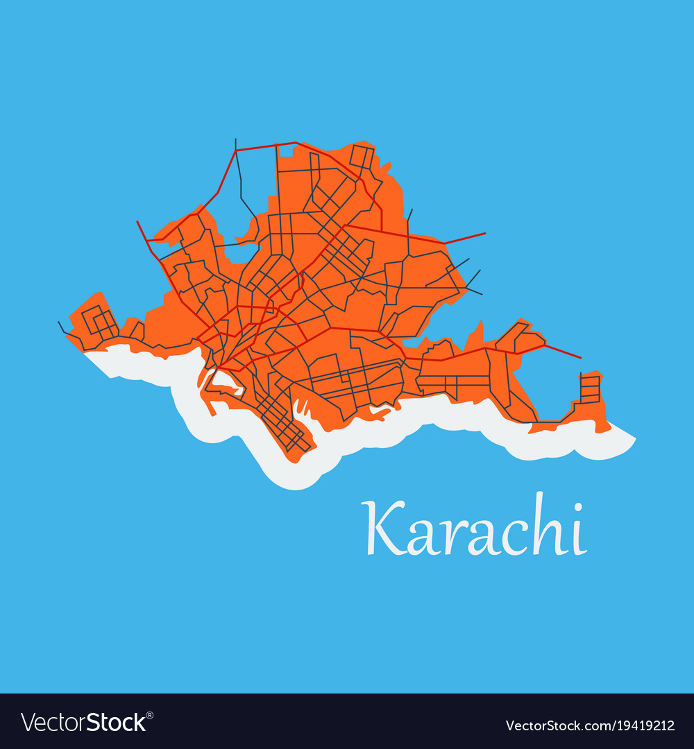 Karachi pakistan colorful flat map streets Vector Image
