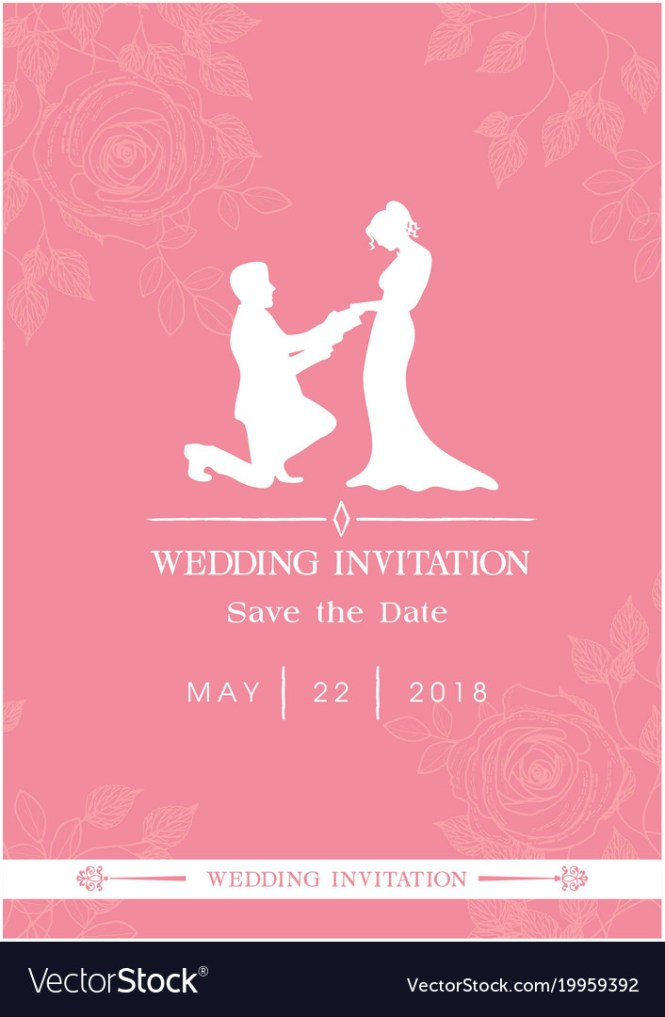 Wedding Invitation Save The Date Roses Pink Backgr