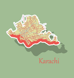 Karachi pakistan colorful sticker map streets Vector Image