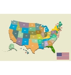 Colorful USA map with states and capital cities Vector Image