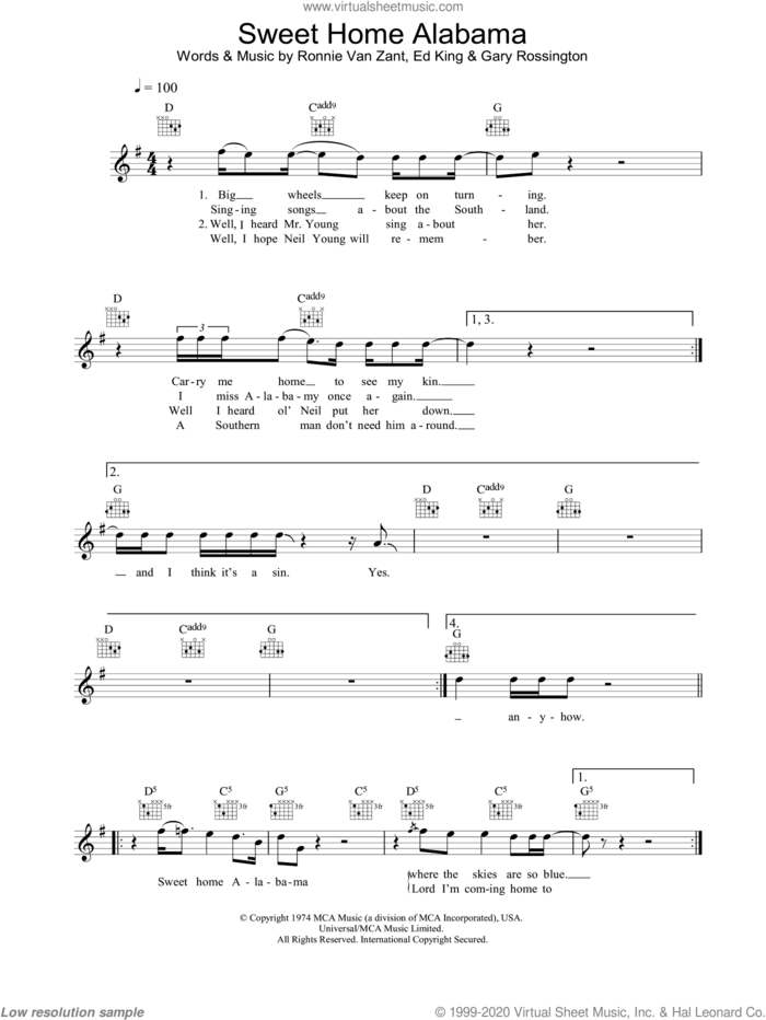 Free, curated and guaranteed quality with ukulele chord diagrams, transposer and auto scroller. Skynyrd Sweet Home Alabama Sheet Music Fake Book Pdf