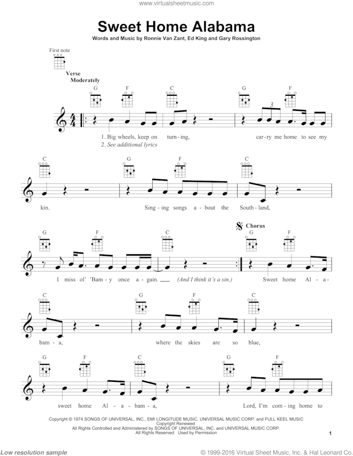Women's health may earn commission from the links on this page, but we only feature products we believe in. Skynyrd Sweet Home Alabama Sheet Music For Ukulele Pdf