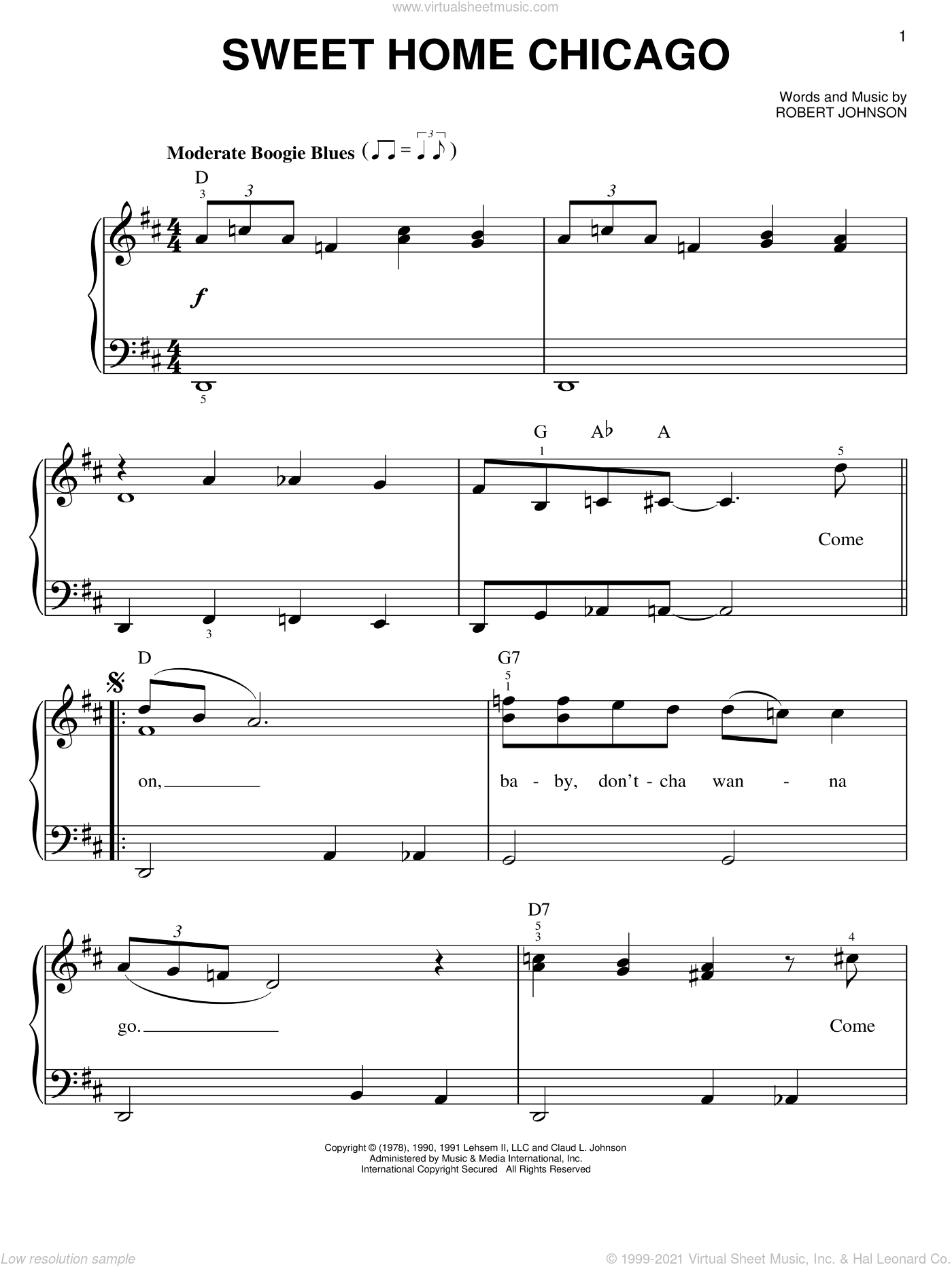 Uno de los tres reyes: Johnson Sweet Home Chicago Easy Sheet Music For Piano Solo