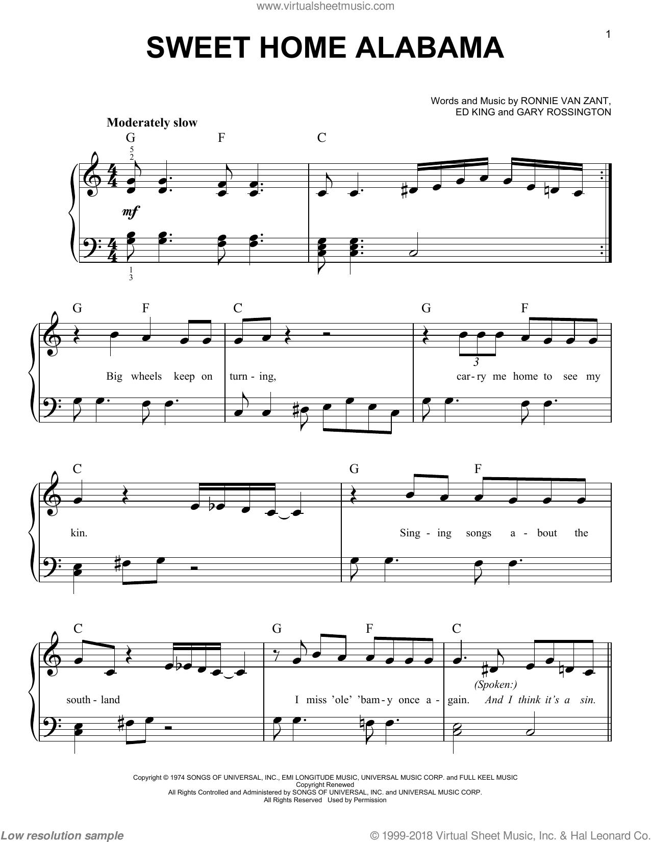 Tutorial sweet home alabama   lynyrd. Skynyrd Sweet Home Alabama Beginner Sheet Music For Piano Solo