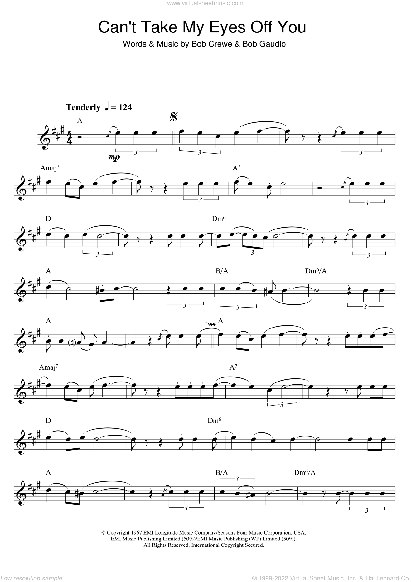 Williams - Can't Take My Eyes Off Of You sheet music for saxophone solo
