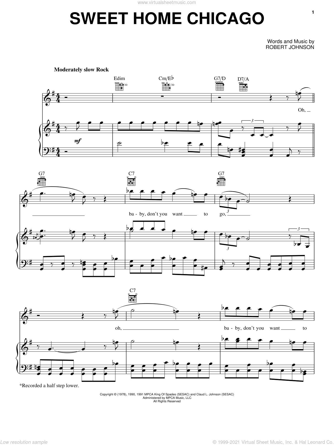 Sweet home chicago sheet music for ukulele. Johnson Sweet Home Chicago Sheet Music For Voice Piano Or Guitar