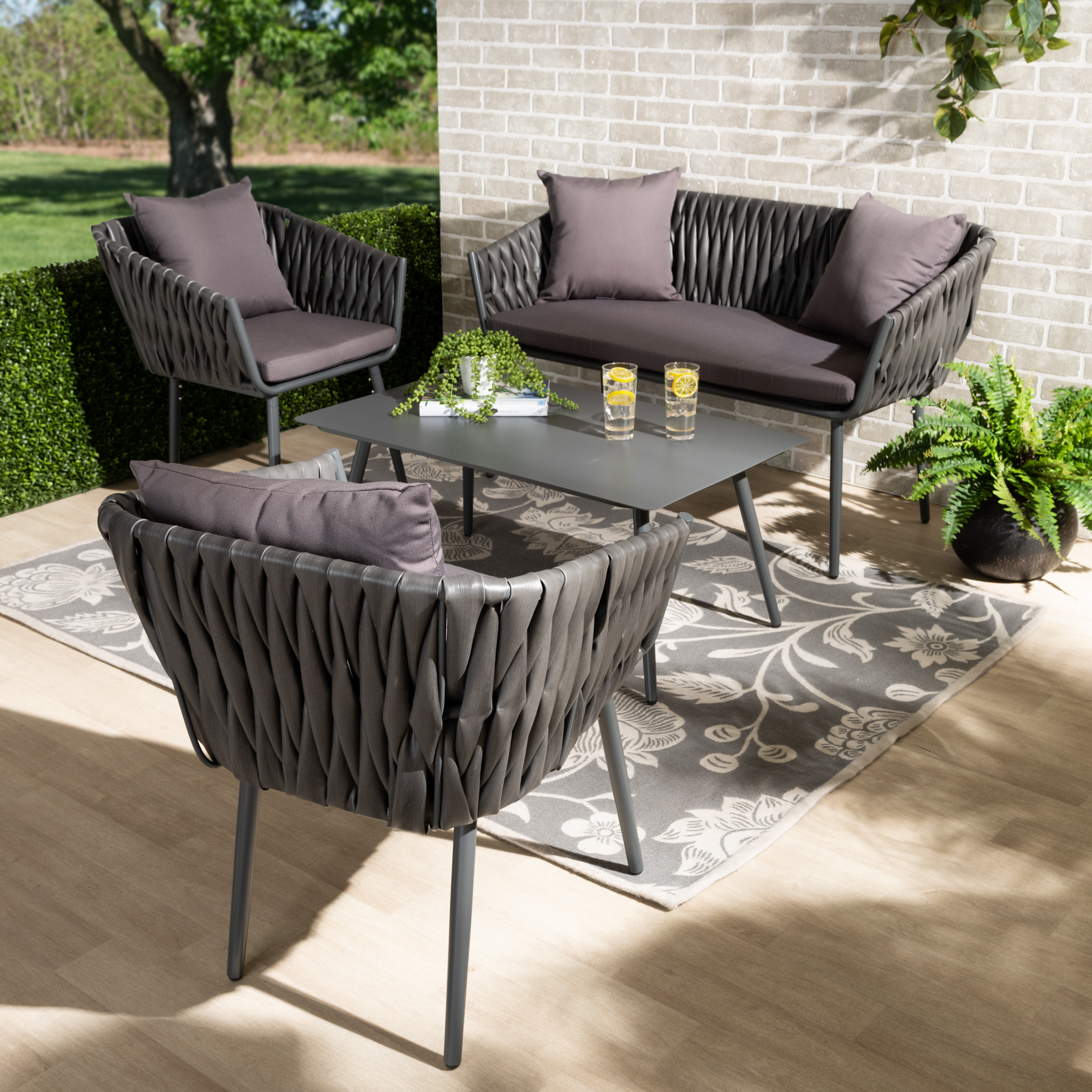 designer studios stewart modern and contemporary grey fabric upholstered and grey finished metal 4 piece outdoor patio set