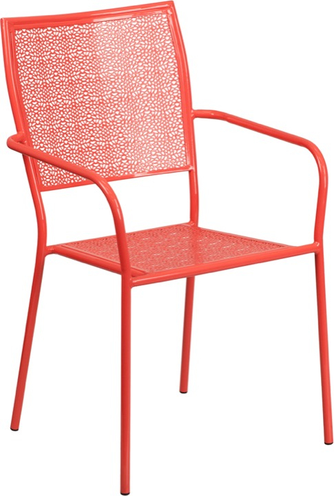 commercial grade coral indoor outdoor steel patio arm chair with square back