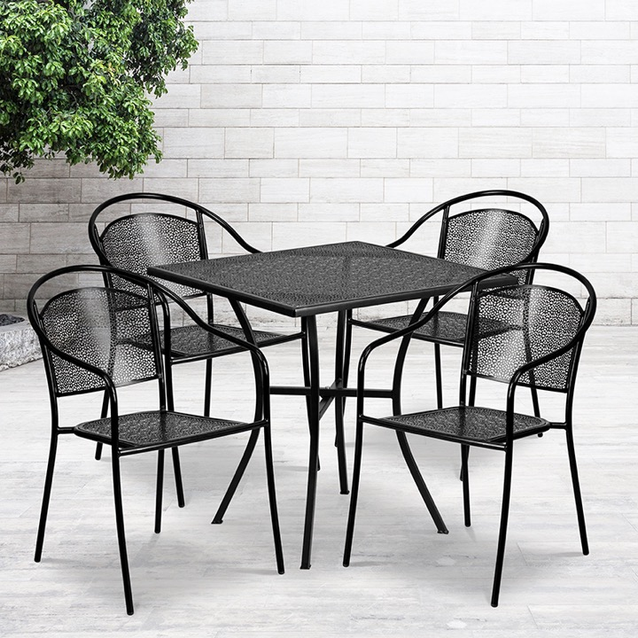 commercial grade 28 square black indoor outdoor steel patio table set with 4 round back chairs
