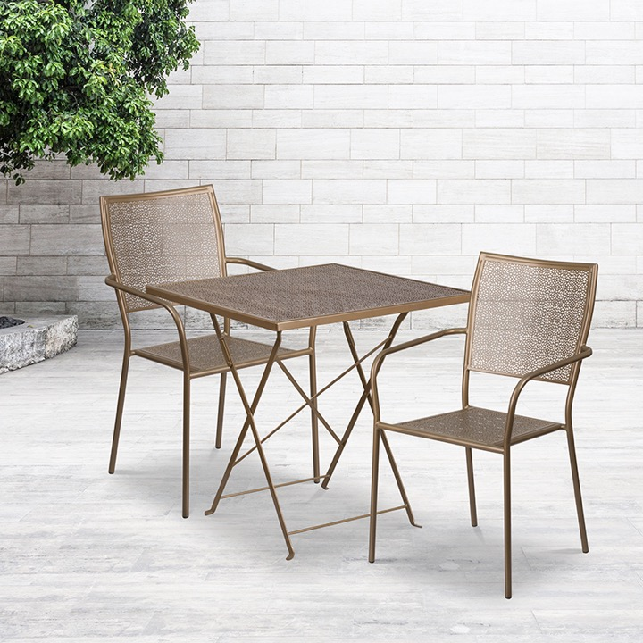commercial grade 28 square gold indoor outdoor steel folding patio table set with 2 square back chairs