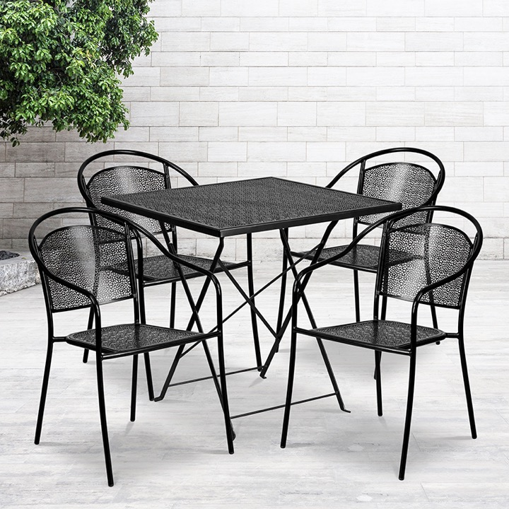 commercial grade 28 square black indoor outdoor steel folding patio table set with 4 round back chairs
