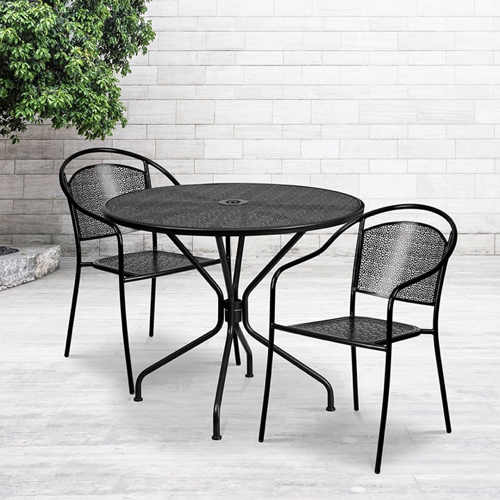 commercial grade 35 25 round black indoor outdoor steel patio table set with 2 round back chairs