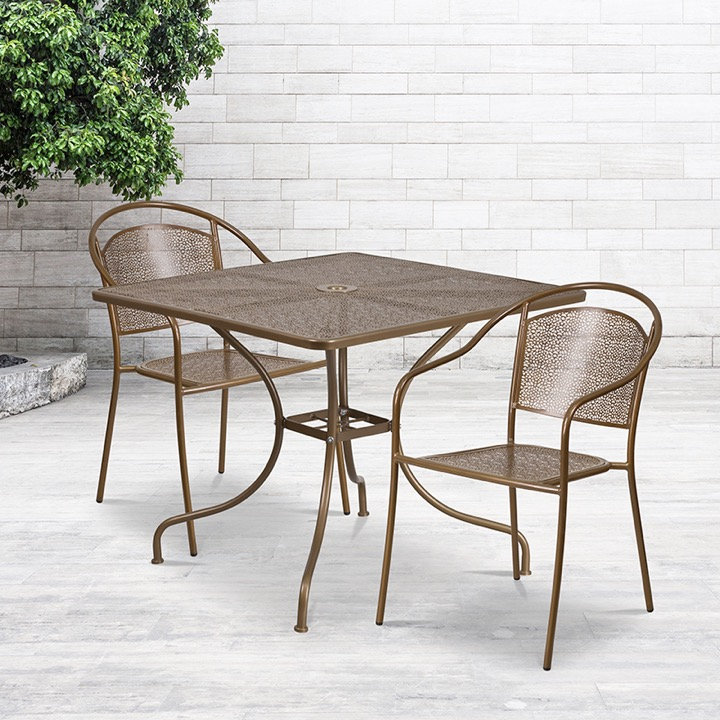 commercial grade 35 5 square gold indoor outdoor steel patio table set with 2 round back chairs