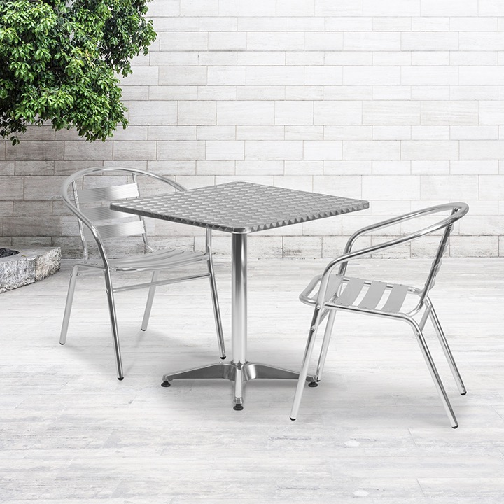 27 5 square aluminum indoor outdoor table set with 2 slat back chairs