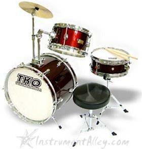 tko 99 junior 3 piece drum set with throne and sticks for kids children jr